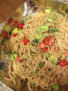Olive Oil Pasta with Tomato and Avocado