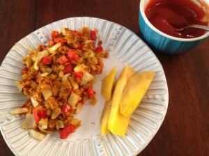Curried Sweet Potato Hash with Curried Ketchup and Sliced Mango.