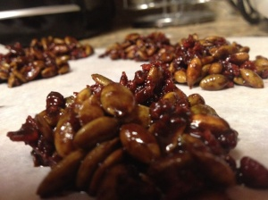 Chocolate Pumpkin Seed & 'Bacon' Clusters