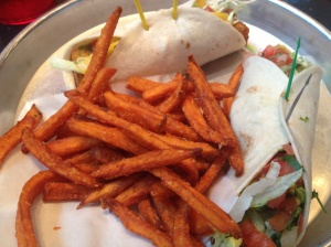 Avocado taco, caribbean jerk taco with plaintains, and sweet potato fries at Taco Mamacita.  Yes, please!